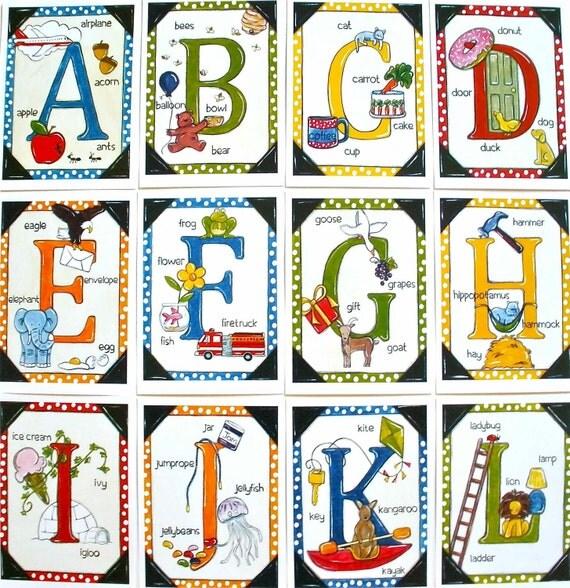 "Alphabet Art Childrens Educational Letter Flashcards 5""x7"""