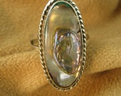 Silver Taxco Eagle Abalone Ring