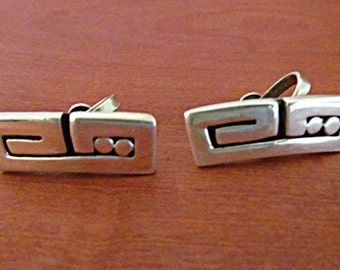 Southwestern Silver Earrings Overlaid