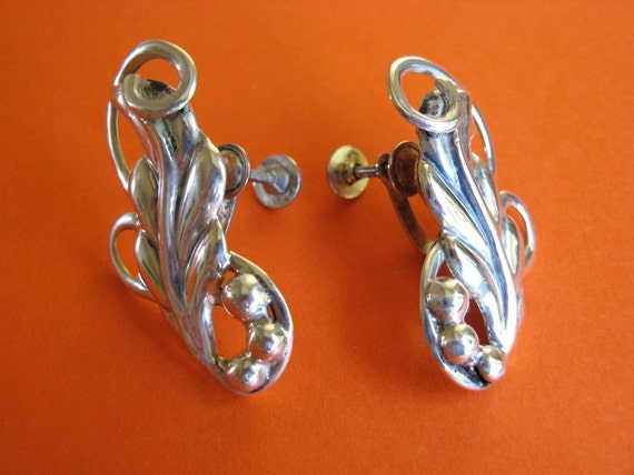 Vintage Earrings Silver Taxco Art Nouveau