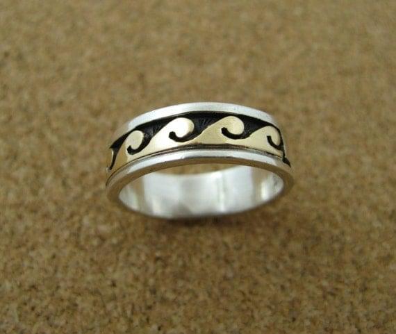 Silver 14K Gold Skeets Ring Native American
