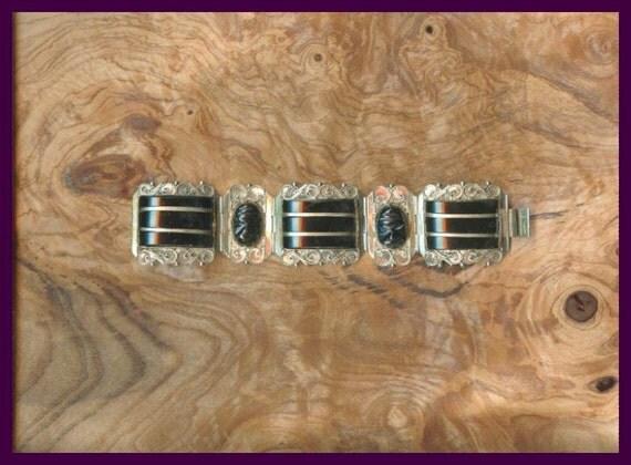 Silver Mexican Obsidian Warrior bracelet