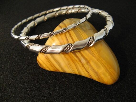 Sterling Bangle Bracelets Matched Twisted