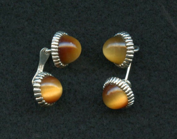Vintage Silver Cufflinks Glass Cabochons 900