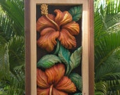 HIBISCUS FLOWER Wood Carving, Wall Art, Tropical Decor Wood Carving by Susana Caban