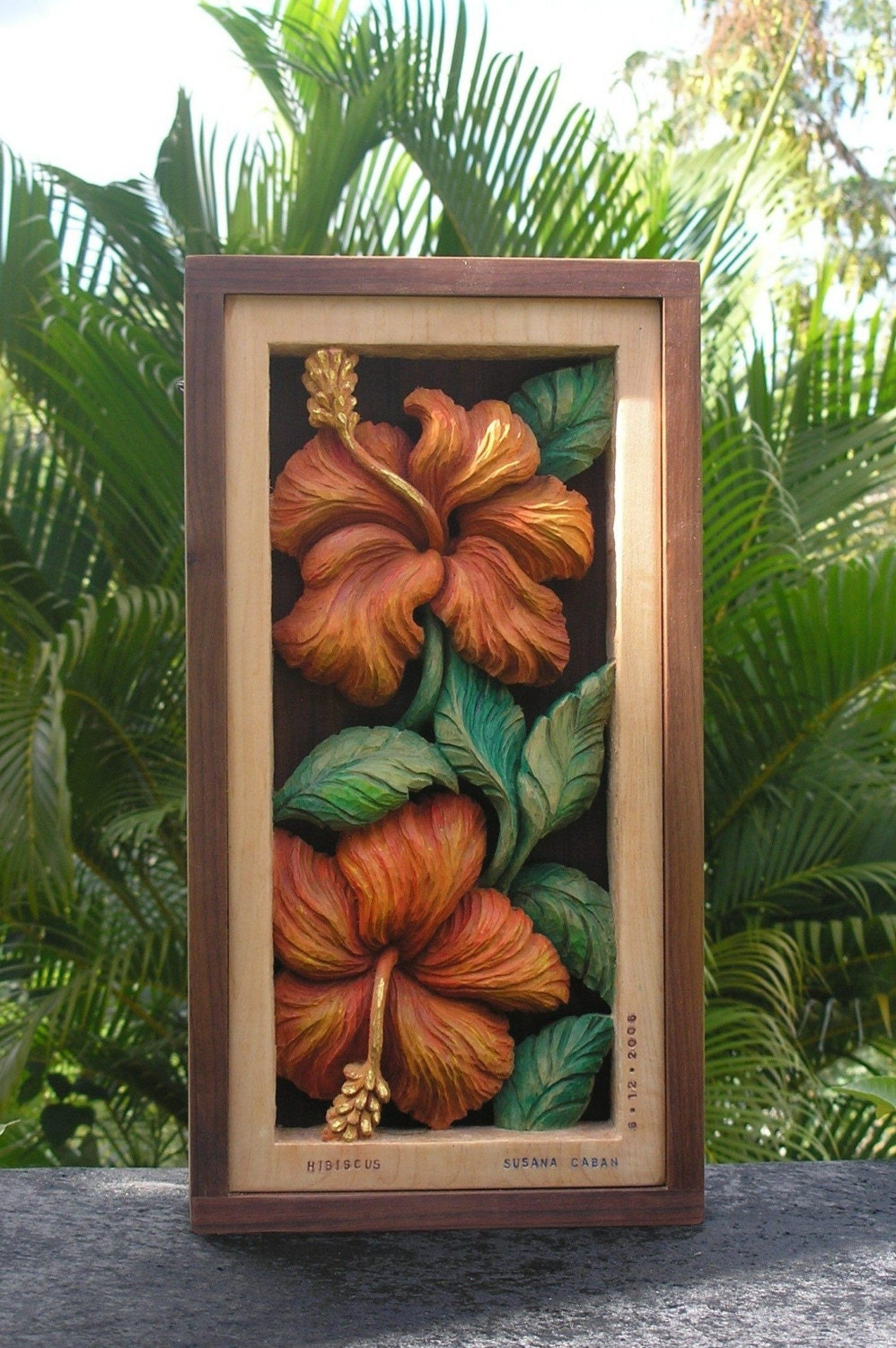 Hibiscus flower wood carving hand carved floral design wall