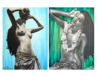 Tahitian Girls portraits Prints, series of 2 - French Polynesia Wahine - South Pacific - Black and white women portrait - -