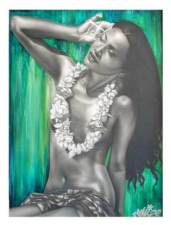 WAHINE TIARE Tahitian girl Print