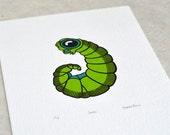 Larva 'specimen' - Limited edition three-colour screenprint