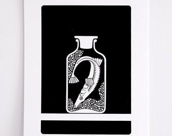 Curiosity Cabinet Series 1, No. 4 - Limited Edition Screenprint (Stickleback)