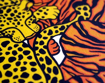 100% donation to wild cat conservation group Panthera - Panthera Pair, limited edition silkscreen print (three colour)