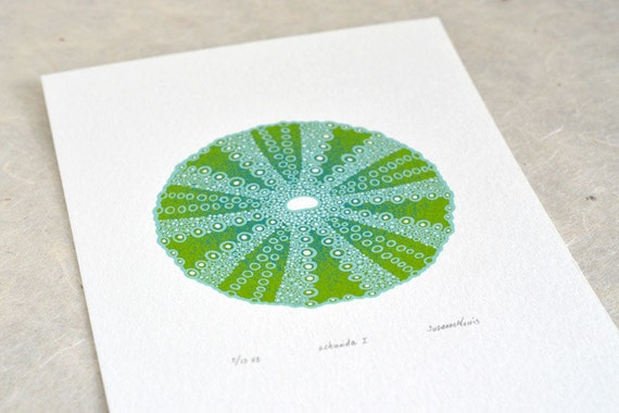 Sea Urchin / Echinoida I 'specimen' (pale) - Limited edition three-colour screenprint with hand-coloured details