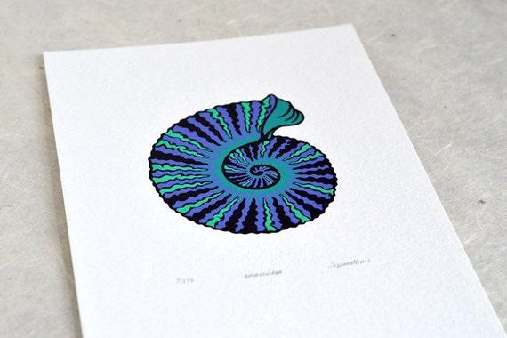 Ammonite / Ammonoidea 'specimen' - Limited edition three-colour screenprint with hand-coloured details