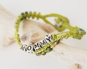 MOMMY layered bracelet, lime green beaded macrame with button