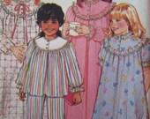 Sale - Children's Robe - Nightgown - Top - Pants - Butterick 6908 - Breast 23,24,25 Ins. - Uncut - Vintage