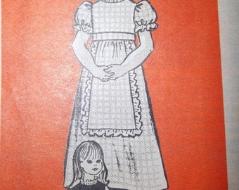 SALE - UNCUT 1950s -  Vintage - Marian Martin 9387 - Girls Dress with Apron Size 6, Breast 25