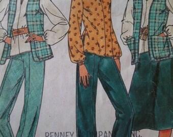 Sale - Vintage -Long Vest - Tunic - Skirt - Pants - Butterick 6716 -  Bust 36,38,40 - Uncut & Cut