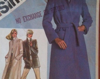 Sale -Vintage  - Coat or Jacket - Simplicity 9825 - Bust 34 - Uncut Pattern