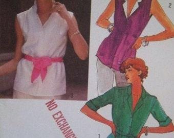 Sale - Vintage - Button Front Blouse -  Simplicity 9381 - Bust 34 - Uncut Pattern