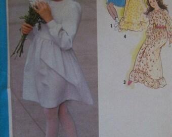 Sale -  Vintage - Girls Dress - 1979 -  Simplicity 9342 -  Two Lengths - Breast 28 1/2 - Uncut Pattern