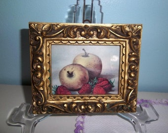 SALE - Vintage -Italian Print - Still Life - Unique Frame -  Little Treasure - Price Reduced for Clearance