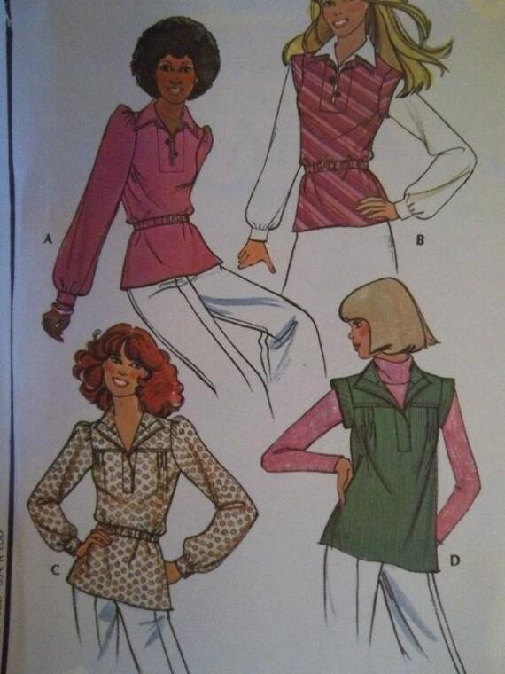 Sale -Front Yoked Blouse -  Fabric Belt - McCalls 5233 - Uncut - Vintage 1976 - Bust 30 1/2-31 1/2 - Pattern