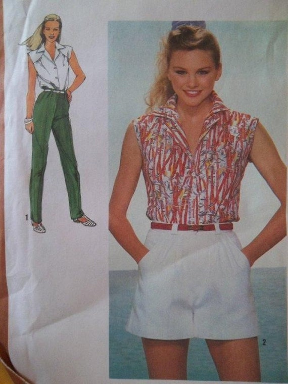 Sale - Wide Leg Shorts - Shirt - Straight Leg Pants -  Simplicity 9552 -  Vintage - 1980 - Bust 32 1/2 -  Uncut  Pattern