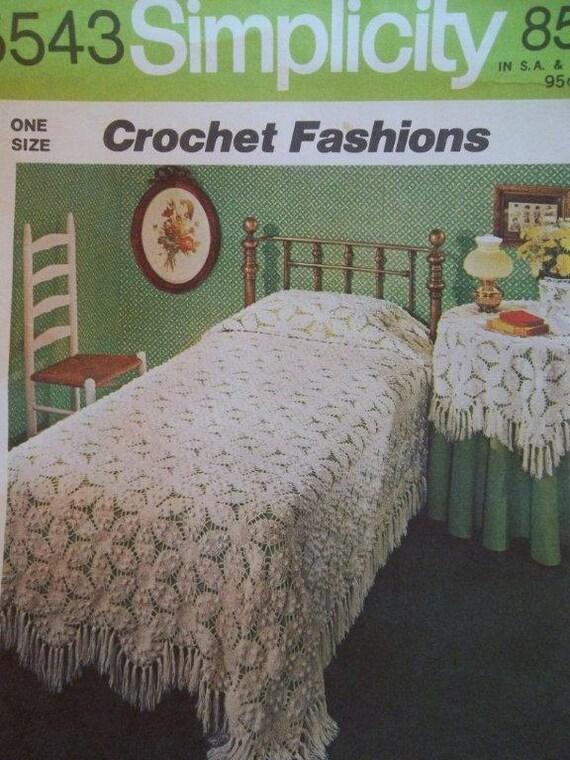 Sale - Simplicity 5543 - Crochet Bedspread - Crochet Tablecloth - Vintage Pattern
