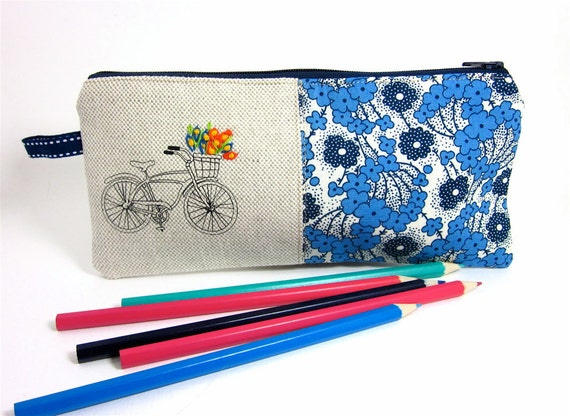 Pencil Case Retro Bicycle and Blue Flowers