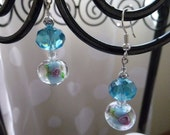 Ice Rose Dangle Earrings with Silver Accents and Lamp work glass