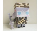 DIY  - Paper Toy Box  - Army Girl -Printable PDF 300dpi digital file