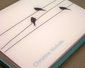 Personalized Bird on a Wire Note Cards - Set of 10