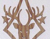 Scroll saw cut wooden deer head ornament--715c