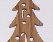 Scroll saw cut wooden Christmas tree ornament--749c