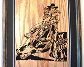 Barrel Racer, scroll saw art, framed art, wall art--wa11