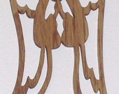 Scroll saw cut angel with praying hands--2c