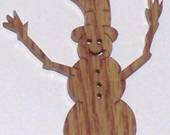 Scroll saw cut wooden snowman ornament--745c