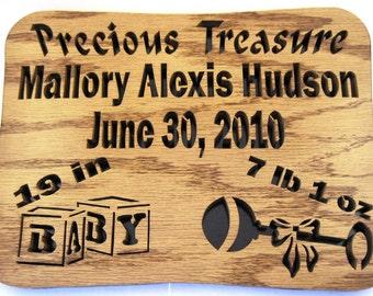 "Scroll saw cut ""Precious Treasure"" personalized baby plaque OOAK--18cr"