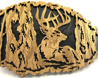Deer in a leaf scroll saw cut--6de