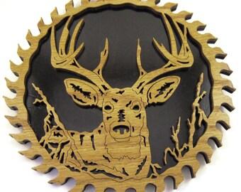 Deer head in a sawblade scroll saw cut--6sb