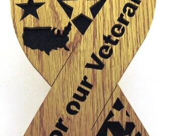Honor our Veterans Ribbon scroll saw cut--3p