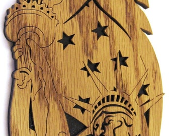 Statue of Liberty Feather scroll saw cut--12p