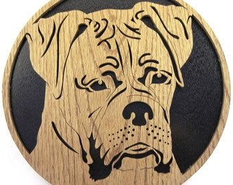 Boxer dog face scroll saw cutting--8df