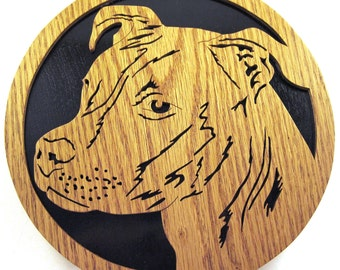 Pit Bull scroll saw cut wall plaque--48df