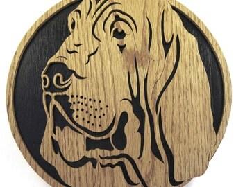 Bloodhound wall plaque scroll saw cut--6df
