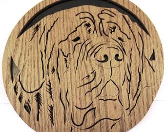 Mastiff dog face scroll saw cutting--49df