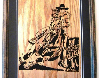 Barrel Racer, scroll saw art, framed art, wall art, woodworking, fretwork, wall decor--wa11