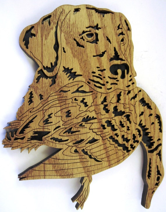 Scroll saw cut dog with a duck in its mouth--1do