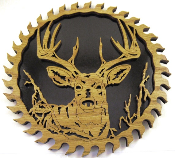Deer head in a sawblade scroll saw cut--6sb