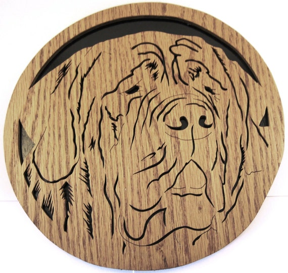 Mastiff dog face scroll saw cutting--49df